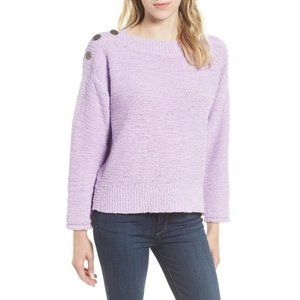 Caslon Button Shoulder Boat Neck Sweater NWT